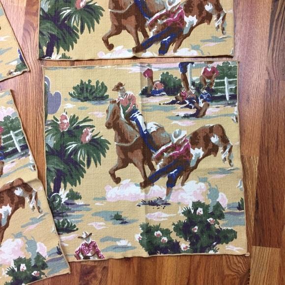 Vintage Other - Lot of 4 Vintage 50s barkcloth bronco napkins